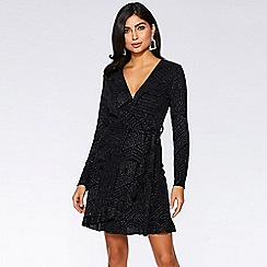 Quiz - Black and silver long sleeve wrap dress