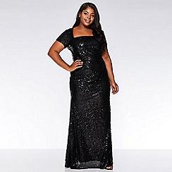 Quiz - Curve black sequin cap sleeve maxi dress