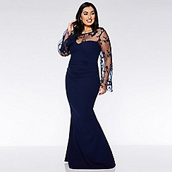 Quiz - Curve Navy Embroidered Long Sleeve Maxi Dress