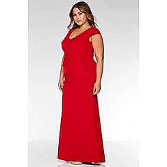 Quiz - Curve Red Cap Sleeve Maxi Dress