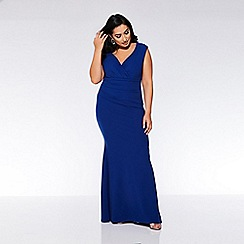 Quiz - Curve Royal Blue Bardot Wrap Maxi Dress
