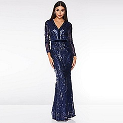 Quiz - Navy Sequin Embellished Fishtail Maxi Dress