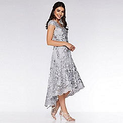 Quiz - Grey Embroidered Bardot Dip Hem Dress