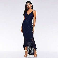 Quiz - Navy Glitter Lace Dip Hem Maxi Dress