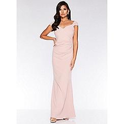 Quiz - Pale Pink Brooch Wrap Maxi Dress