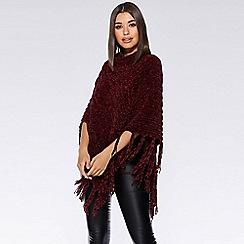 Quiz - Burgundy chenille knit tassel poncho