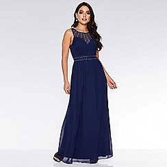 Quiz - Navy Chiffon High Neck Maxi Dress