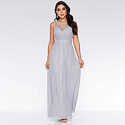 Quiz - Grey Chiffon High Neck Maxi Dress