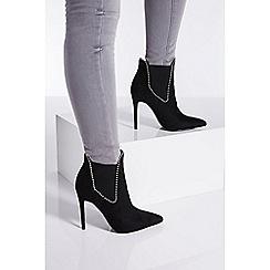 Quiz - Black stud stiletto heel ankle boots