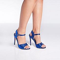 Quiz - Blue glitter buckle heel sandals