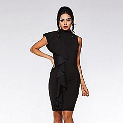 Quiz - Black crepe high neck ruffle midi dress