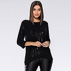 Quiz - Black sequin 3/4 sleeve boxy top