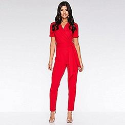 Quiz - Red lapel tie belt jumpsuit