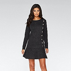 Quiz - Grey knit button detail frill tunic dress