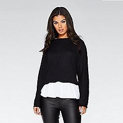 Quiz - Black light knit white shirt top