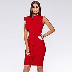 Quiz - Red crepe high neck ruffle midi dress