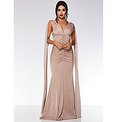 Quiz - Nude mesh v neck ruched fishtail maxi dress