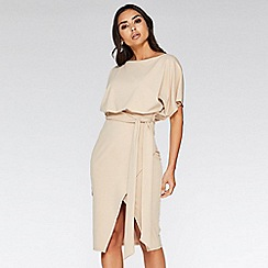 Quiz - Nude batwing belted midi dress