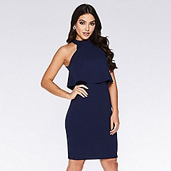 Quiz - Navy Overlay High Neck Dress