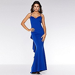 Quiz - Royal blue crossover backless ruffle maxi dress