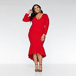 Quiz - Curve red wrap 3/4 sleeve dip hem dress