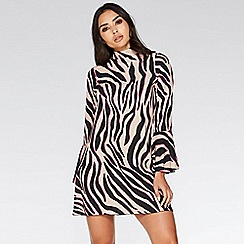 Quiz - Stone and pink zebra print dress