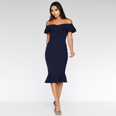 Quiz   Navy Bardot Frill Midi Dress by Quiz