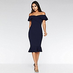 Quiz - Navy bardot frill midi dress