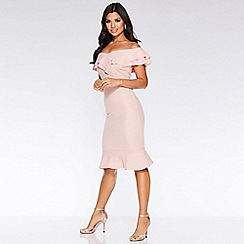 Quiz - Pink Crepe Frill Hem Dress