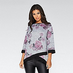 Quiz - Grey and pink light knit floral top