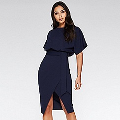 Quiz - Navy batwing belted midi dress