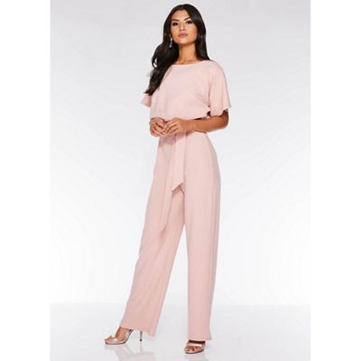 Quiz   Pink Batwing Belted Palazzo Jumpsuit by Quiz