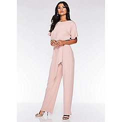 Quiz - Pink batwing belted palazzo jumpsuit