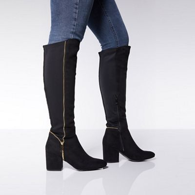 Quiz   Black Faux Suede Knee High Boots by Quiz