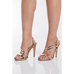 Quiz - Rose Gold Asymmetrical High Heel Sandals