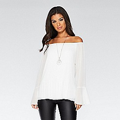 Quiz - Cream chiffon pleated bardot necklace top
