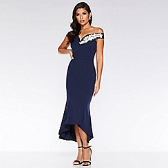 Quiz - Navy And Cream V Bar Fishtail Midi Dress