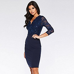 Quiz - Navy sequin lace v neck dress