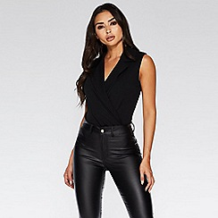Quiz - Black lapel bodysuit