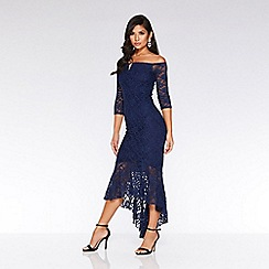 Quiz - Navy glitter lace v bar dip hem maxi dress