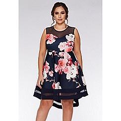 Quiz - Curve Navy And Pink Floral Dip Hem Dress