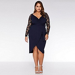 Quiz - Curve Navy Wrap Lace Sleeve Midi Dress