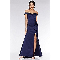 Quiz - Navy Satin Bardot Bow Detail Maxi Dress