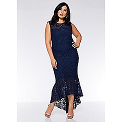 Quiz - Curve navy lace glitter dip hem maxi dress