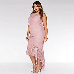 Quiz - Curve Pink Lace Glitter Dip Hem Maxi Dress