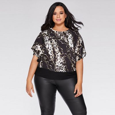 Quiz - Curve black and brown animal print top 19d1bf741