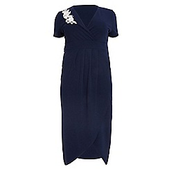 Quiz - Curve Navy Embroidered Midi Dress