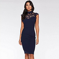 Quiz - Navy Lace Frill High Neck Midi Dress