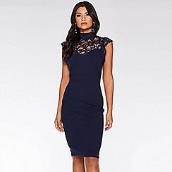 Quiz - Navy Lace Frill High Neck Midi Dress