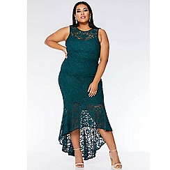 Quiz - Curve bottle green glitter lace maxi dress